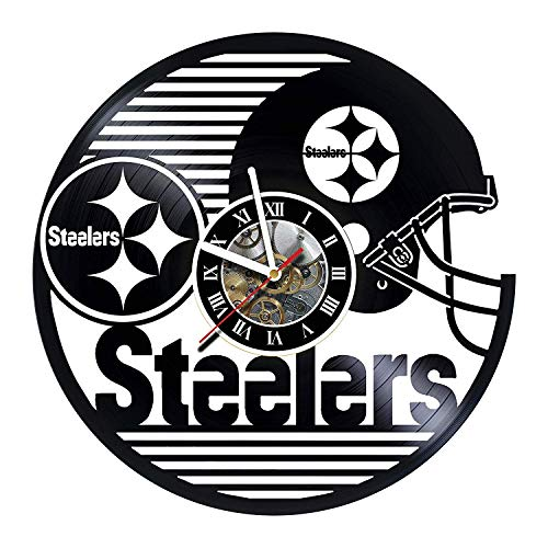Steelers - Football Team - Wall Clock Made of Vinyl Record - Decor Original Design - Great Gifts idea for Birthday, Wedding, Anniversary, Women, Men, Friends, Girlfriend Boyfriend and Teens -