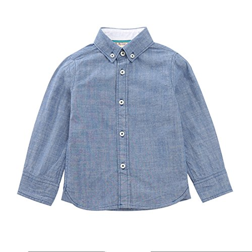 MOMOLAND Baby Toddler Boys Woven Chambray Button Down Shirt (Blue-Long Sleeve, 2 Years)