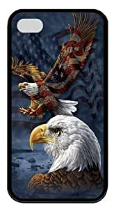 Eagle Flag Collage TPU Silicone Case Cover for iPhone 4/4S Black