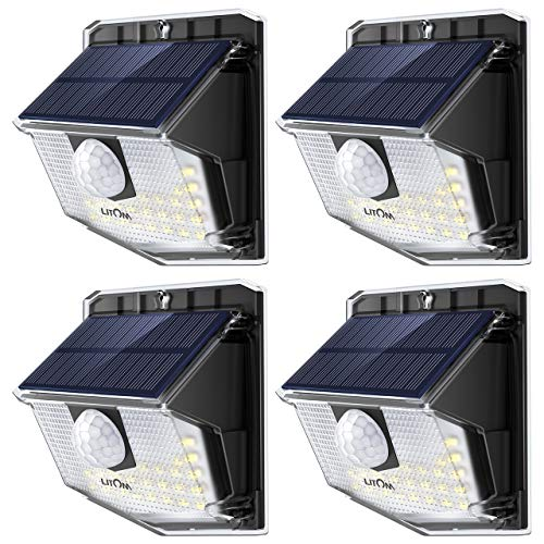 (LITOM Solar Lights Outdoor, IP67 Waterproof Solar Motion Sensor Light with 270° Lighting Angle, Wireless 30 LED Solar Powered Security Wall Lights for Patio,Yard,Garage,Garden,Stairs,Driveway 4 Pack)