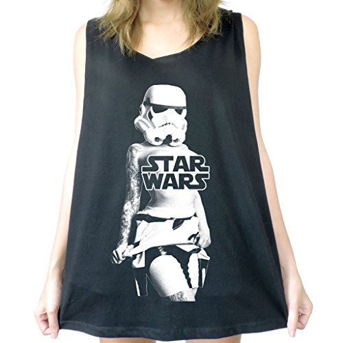 Modman Men's Sexy Stormtroopers Girl Lost Star Wars Tank Top Small Black (Storm Trooper Sexy)
