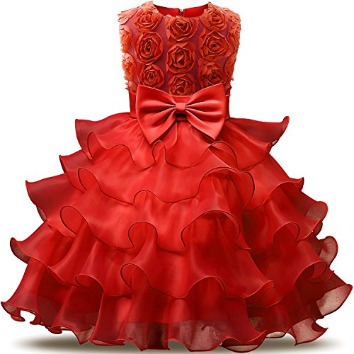 NNJXD Girl Dress Kids Ruffles Lace Party Wedding Dresses Size (110) 3-4 Years Flower Red