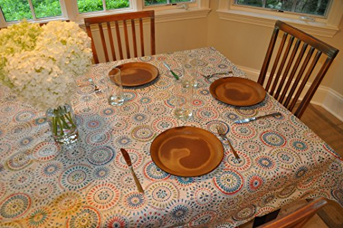 Covers For The Home Deluxe Stitched Edged Flannel Backed Vinyl Drop Tablecloth - Multi-Color Geometric Medallion Pattern - 70