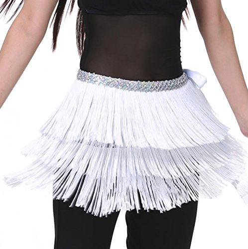 (Astage Three Layers Fringed Belt Belly Dance Waist Chain Tassel Hip Scarf White)