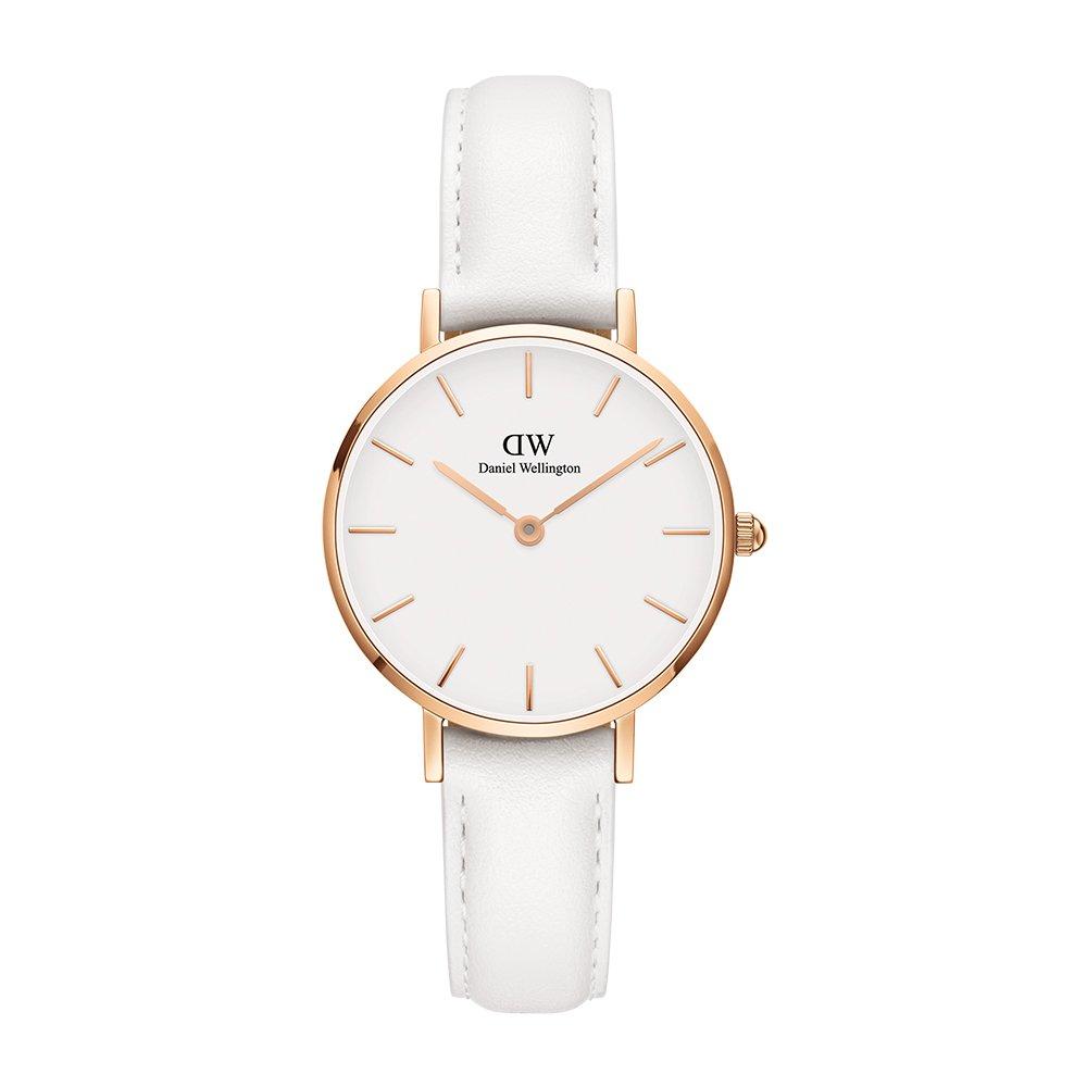Daniel Wellington 'Classic Petite' Quartz Gold and Leather Casual Watch, Color:White (Model: DW00100249)