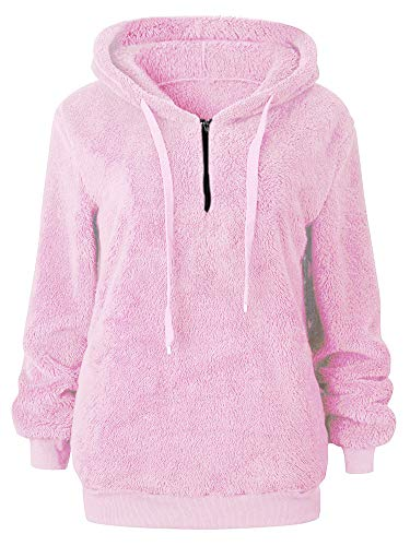 Drawstring Fleece Jacket Fuzzy Chunky Hooded Sweatshirts Tops with Pockets Pink M ()