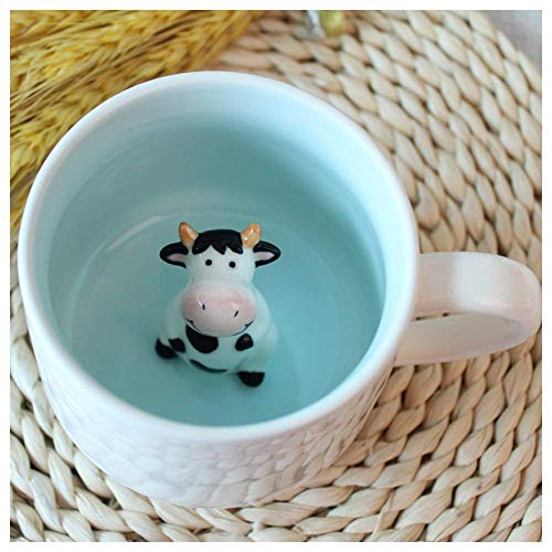 Surprise 3D Cartoon Miniature Animal Coffee Cup Mug with Baby Cow Inside - Best Office Cup & Christmas Gift (Cow)