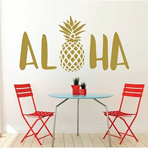Aloha Wall Decal Sticker With Hawaiian Pineapple Design - Pineapple Decor - Vinyl Art Decoration