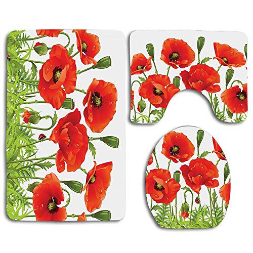 EnmindonglJHO Horizontal Border with Poppy Flower Bud Poppies Chamomile Wildflowers Lawn Design 3pcs Set Rugs Skidproof Toilet Seat Cover Bath Mat Lid Cover Cushions Pads