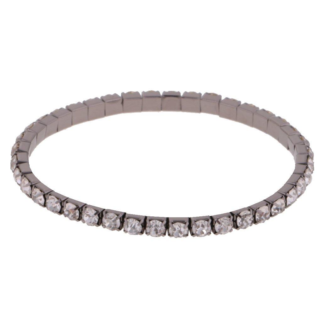 Prettyia Crystal Rhinestone Stretch Bangle Bracelet Boda Nupcial Joyería - Plata