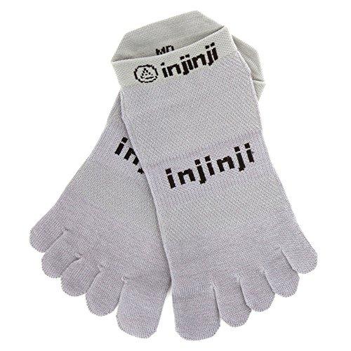 Injinji Performance 2.0 Run Original Weight No-Show CoolMax Toe Socks - Gray - XL