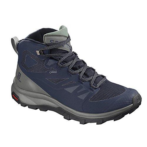 - Salomon Men's Outline Mid GTX Hiking Shoe, Medieval Blue/Castor Gray/Green Milieu
