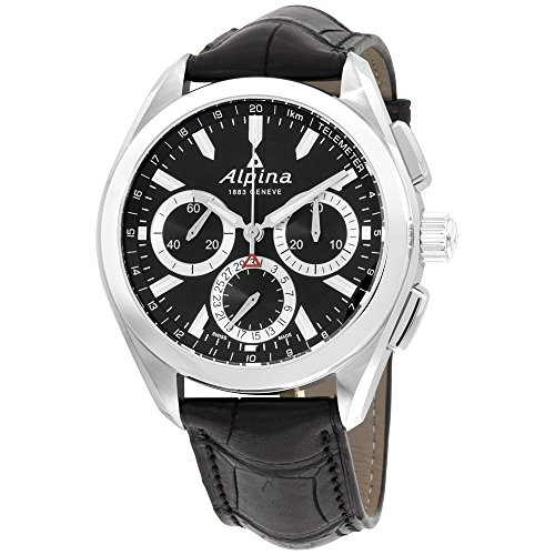 Alpina Alpiner 4 Black Dial Black Leather Strap Men's Watch AL760BS5AQ6