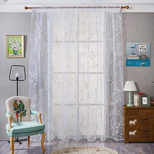 (Sheer Curtains Panels for Livingroom, ♥ Breathable Window Kitchen Shower Curtain 79x39 inch, Beyonds Lamei Orchid Ventilation Insulation Voile Treatment Patio Door Drapes)