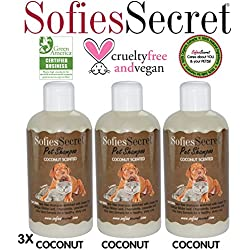 SofiesSecret 100% Natural+Organic Pet Shampoo (3 Pack), Coconut, NO Perfume Organic Extract for Scent, Cruelty Free & Vegan, Green America & Leaping Bunny Certified, 25.5 fl. Oz.