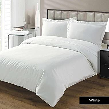Mayfair Linen 1800 Series Brushed Microfiber & Wrinkle Free 4Pc Hypoallergenic Sheet Set Queen White