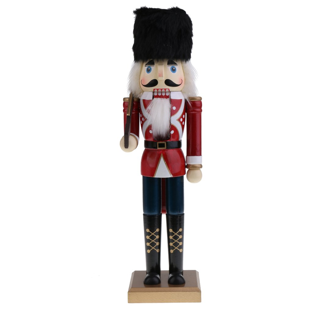 Jili Online 15'' Handcraft Wooden Nutcracker Figurine Soldier Puppet Christmas Ornaments Friends Kids Gifts Office Home Decoration and Display