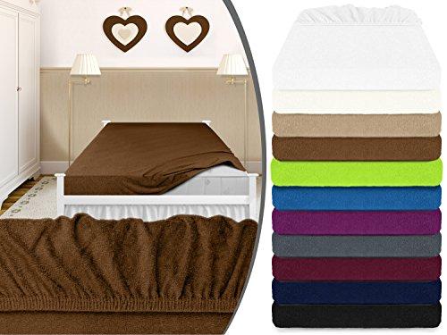 klassisches Frottee-Spannbetttuch - erhältlich in 11 modernen Farben und 3 verschiedenen Größen - Steghöhe von ca. 30-35 cm - passend für Standardmatratzen und Wasserbetten, 180-200 x 200 cm, schokobraun