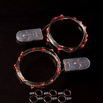 RTGS 2 Sets 15 Red Color Micro LED String Lights Battery Operated on 6 Feet Silver Wire