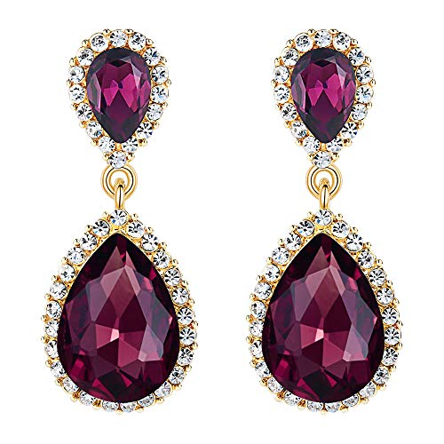 EVER FAITH Women's Austrian Crystal Wedding Tear Drop Dangle Earrings Purple Gold-Tone