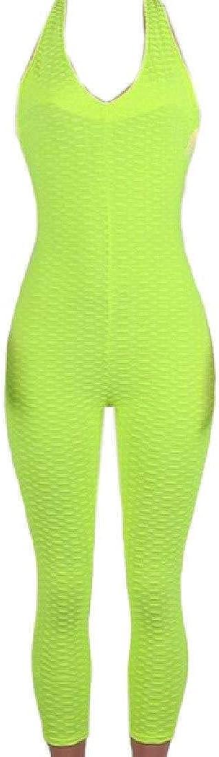 Bravepe Womens Sleeveless Yoga Sports Backless Basic Jumpsuits Romper