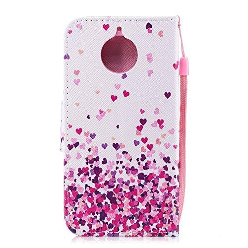 Funda para Motorola Moto G5s , IJIA Romántico Amor-Corazón TPU + PU Cuero Ranuras para Tarjetas de Crédito Flip Caja [Estilo Libro,Soporte Plegable ] Cover Tapa Caso Parachoques Carcasa Cubierta Shell