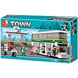 Toys - Double Decker Bus With Gas Station - Sluban