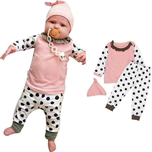 Baby's Clothes, Mchoice Newborn Baby Boy Girl Dot Print T-shirt Tops Pants Hat 3PCS Outfits Clothes Set (18~24 Months, Pink)