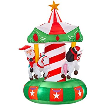 gemmy inflatable animatronic airblown carousel outdoor christmas decoration with incandescent white lights - Animatronic Christmas Decorations