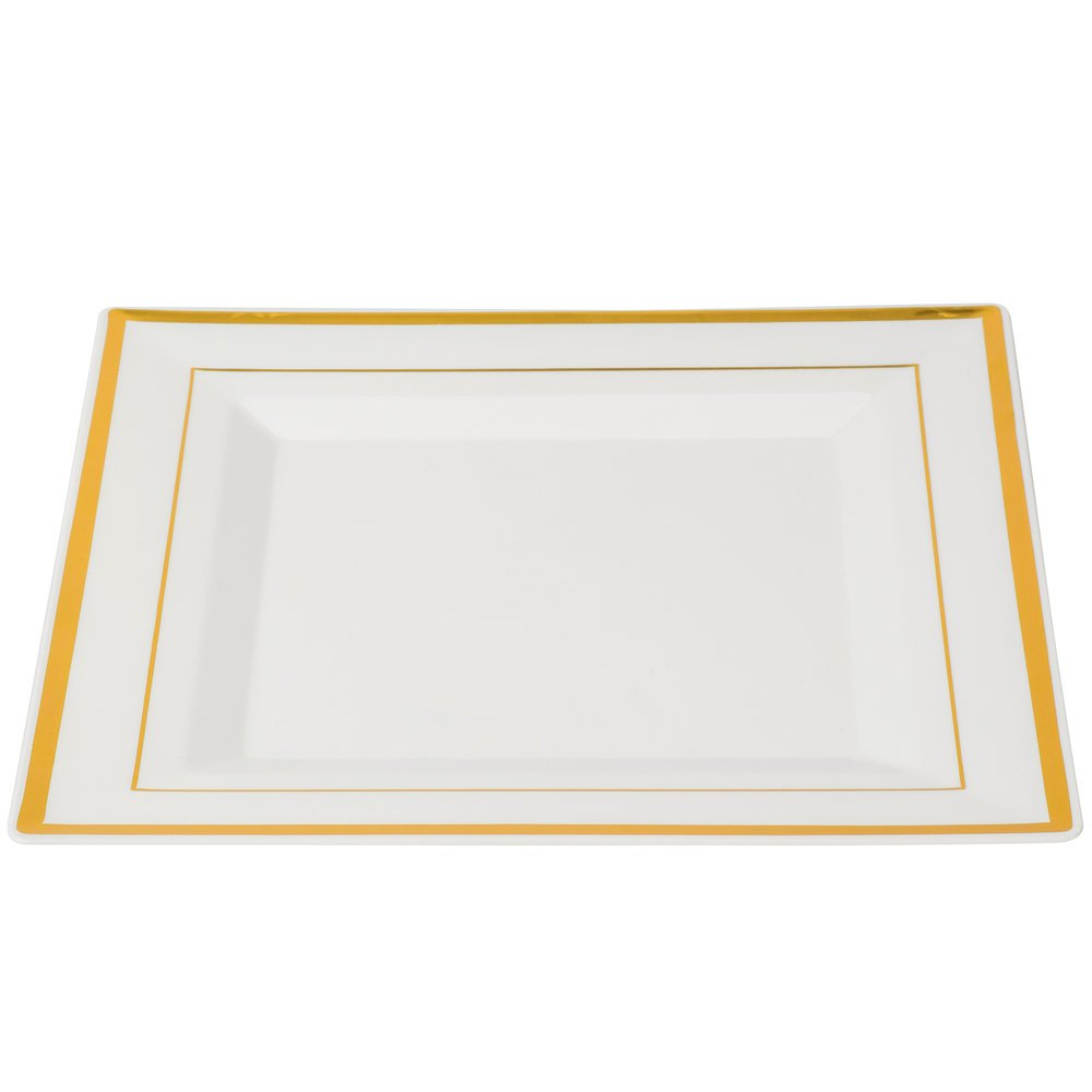 Amscan Elegant Square Plastic Plate Party Tableware and Reusable Dishware, White with Gold Trim, 10'', Pack of 8.