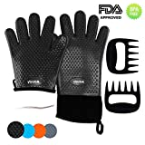 Silicone BBQ Oven Gloves (Black) & Meat Claws - Extra Thick Non-Slip Waterproof Heat Resistant Oven Mitts & Ultra-Sharp Blades Claws for Cooking, Baking, Grilling