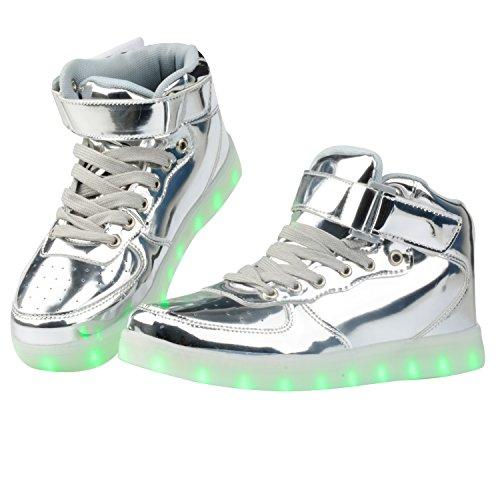 Quan Zhihong Women & Men Alta Cima Usb Ricarica Scarpe Led Lampeggiante Sneaker Argento