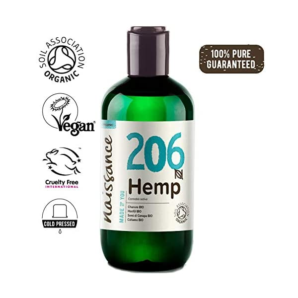 Naissance Organic Cold Pressed Virgin Hemp Seed Oil (no. 206) 250ml – Certified Organic, Vegan, Unrefined. Rich in Omega 3, 6 and 9