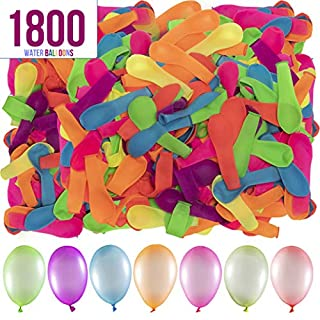 Prextex 1800 Water Balloons Bulk Balloons Pack for Water Sports Fun, Splash Fights for Pools and Outdoors, Summer Outdoor Water Games and Party Favors