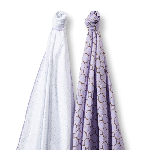 SwaddleDesigns-SwaddleDuo-Set-of-2-Swaddling-Blankets-Cotton-Muslin-Premium-Cotton-Flannel-Mocha-Mod-Circles-on-Lavender-Duo
