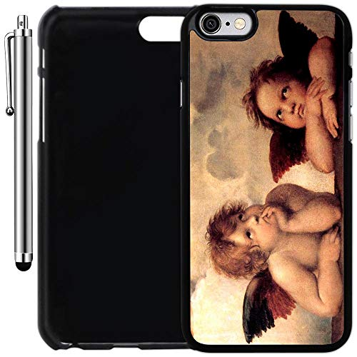 Custom Case Compatible with iPhone 6/6S (4.7 inch) (The Sistine Madonna Cute Angels) Plastic Black Cover Ultra Slim | Lightweight | Includes Stylus Pen by - Angel Cover