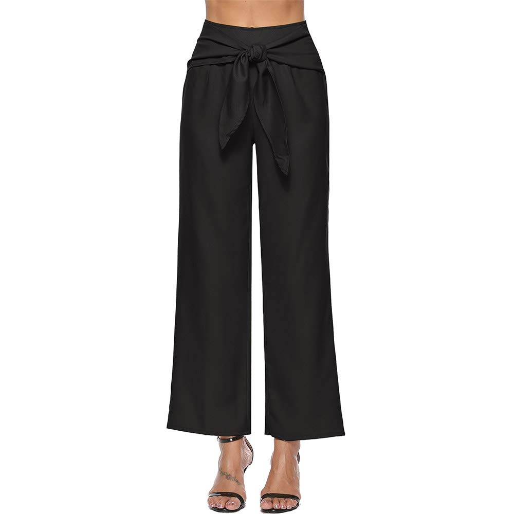 d1d5a2587cd43a GUOLEZEEV Women Solid High Waisted Palazzo Pants OL Fashion Elegant Wide  Leg Long Trouser at Amazon Women's Clothing store: