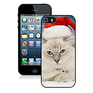 Popular Sell Design Christmas Angry Cat With Red Hat Black Phone Case For Iphone 5s,Iphone 5 TPU Case,Apple Iphone 5s