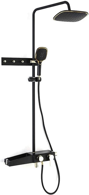 Accesorios de baño, sistema de ducha, juego de combinación de grifo de ducha negro y dorado, juego de grifo de ducha de baño expuesto montado en la pared, cinturón, cabezal de ducha de ABS, ducha de
