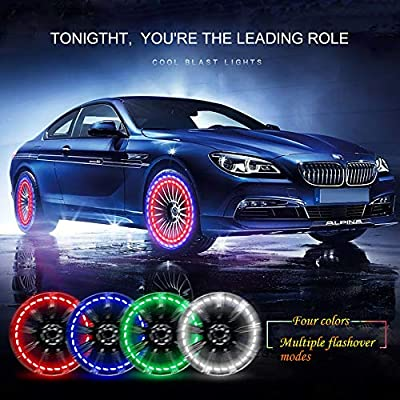 FICBOX 4 Pack Car Tire Wheel Lights Solar Car Wheel Tire Hub Light Motion Sensors Colorful LED Flashing Exterior Lights for Car Motorcycles Bicycles: Automotive