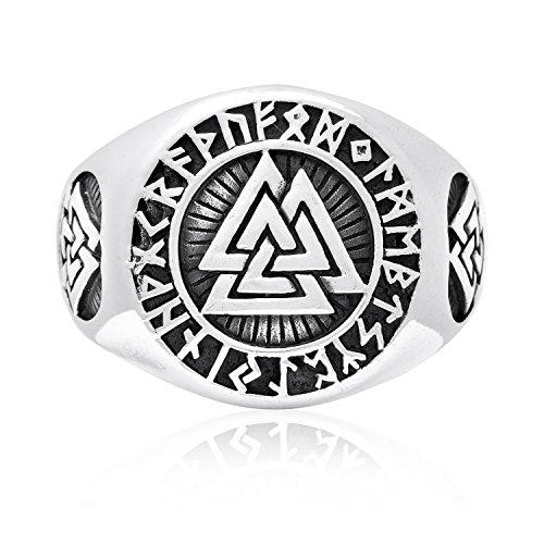 (925 Sterling Silver Valknut Icelandic Scandinavian Odin Viking Norse Runes Runic Ring (10))