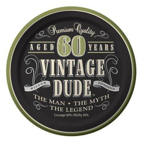 Creative Converting 24 Count Vintage Dude 60th Birthday Round Dessert Plates (Birthday Paper Dessert Plates)