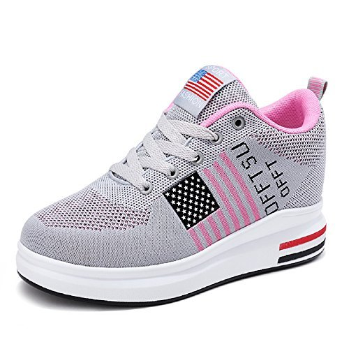 241 Fashion Platform High Top Hidden Wedge Heel USA Flag Women's Breathable Fly Weave Sneakers(8, Grey White) ()