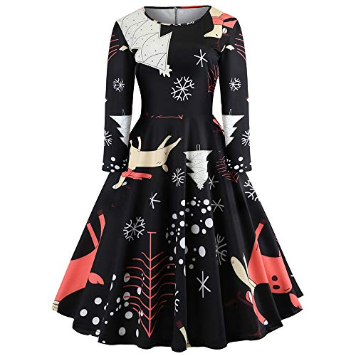 Women's Christmas Dress, Seaintheson Women Christmas Deer Print Elegant Vintage Evening Prom A-Line Swing -