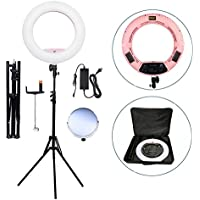 Yidoblo 18 LED Ring Light Kit Bi-color Dimmable Photo Studio Video Portrait Film Selfie Youtube Photography Lighting Set With Phone/Camera Holder, Makeup Mirror, Stand and Travel Bag Pink