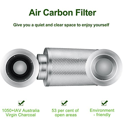 MELONFARM 8 Inch Air Carbon Filter Odor Control Scrubber with Australia Virgin Charcoal for Inline Fan, Reversible Flange, Pre-filter Included for Indoor Gardens, Grow tent , Hydroponics
