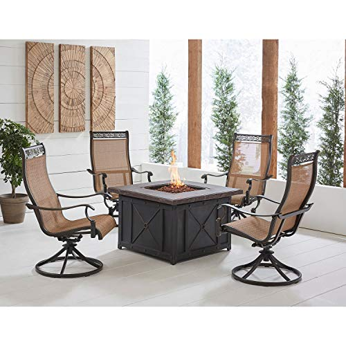 Hanover MON5PCSW4DFP Monaco 5-Piece Fire Pit Chat Set Outdoor Furniture, Tan