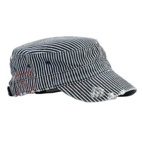 Mega Cap Washed Cadet Cap (Pinstripe) - Pinstripe Wool Hat