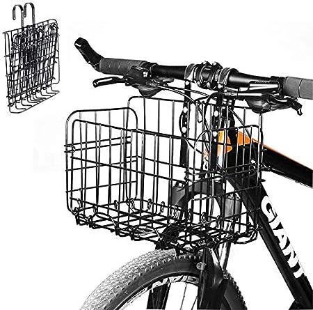 SOULBEST Cesta De Bicicleta Plegable Cesta de la Compra - Malla De Alambre Desmontable Cesta De Bicicleta Colgante Trasera Delantera Fácil Instalación ...