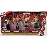 Mattel WWE Wrestling Exclusive Champion Collection Action Figure 4-Pack Rey Mysterio, The Rock, Steve Austin & John Cena [4 Championship Belts!]